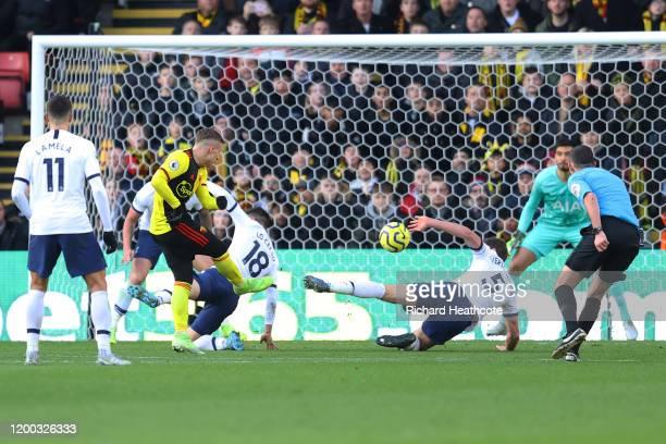 Jan Vertonghen of Tottenham Hotsprur handball inside the box to give Watford a penalty during the Premier League match between Watford FC and...