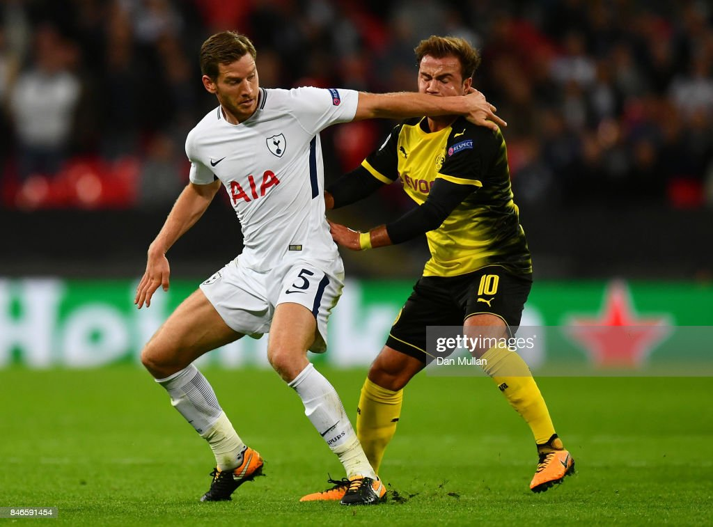 Jan Vertonghen of Tottenham Hotspur and Mario Gotze of Borussia Dortmund battle for possession during the UEFA Champions League group H match between Tottenham Hotspur and Borussia Dortmund at Wembley Stadium on September 13, 2017 in London, United Kingdom.