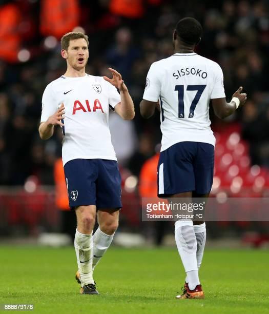 Jan Vertonghen of Tottenham Hotspur and Moussa Sissoko of Tottenham Hotspur celebrate victory after the Premier League match between Tottenham...