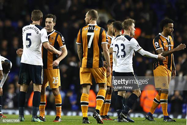 Jan Vertonghen of Tottenham Hotspur and Ryan Mason of Hull City embrace after the final whistle during the Premier League match between Tottenham...