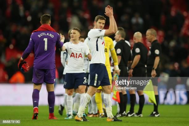 Jan Vertonghen of Tottenham Hotspur applauds fans after the Premier League match between Tottenham Hotspur and Stoke City at Wembley Stadium on...