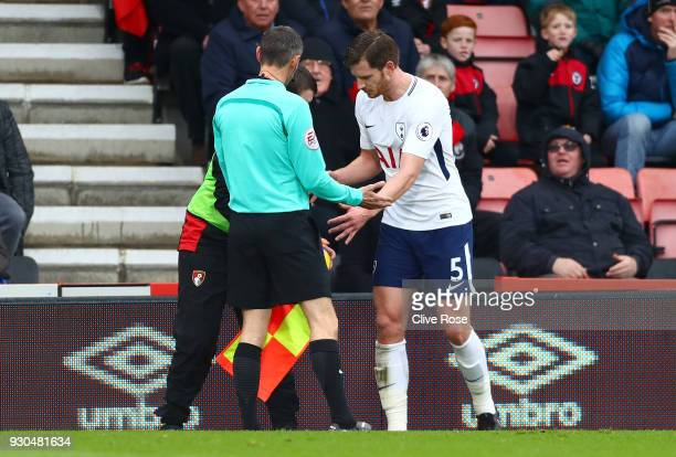 Jan Vertonghen of Tottenham Hotspur argues with a AFC Bournemouth ball boy during the Premier League match between AFC Bournemouth and Tottenham...