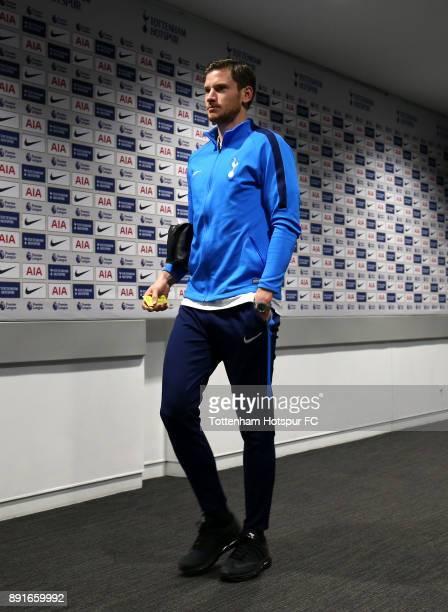 Jan Vertonghen of Tottenham Hotspur arrives during the Premier League match between Tottenham Hotspur and Brighton and Hove Albion at Wembley Stadium...