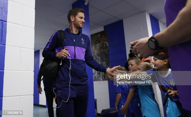 Jan Vertonghen of Tottenham Hotspur arrives prior to the Carabao Cup Third Round match between Tottenham Hotspur and Colchester United at JobServe...