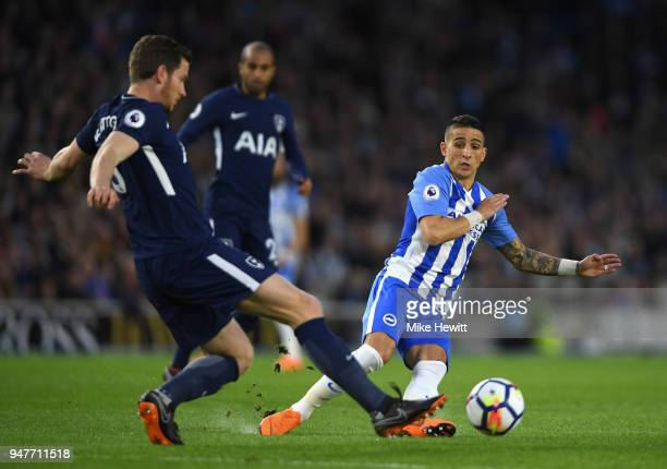 Jan Vertonghen of Tottenham Hotspur battles for possesion with Anthony Knockaert of Brighton and Hove Albion during the Premier League match between...