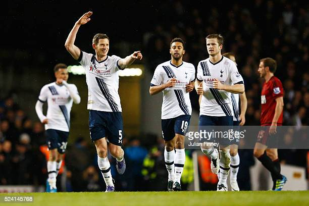 Jan Vertonghen of Tottenham Hotspur celebrates after his shot deflects for the opening goal during the Barclays Premier League match between...