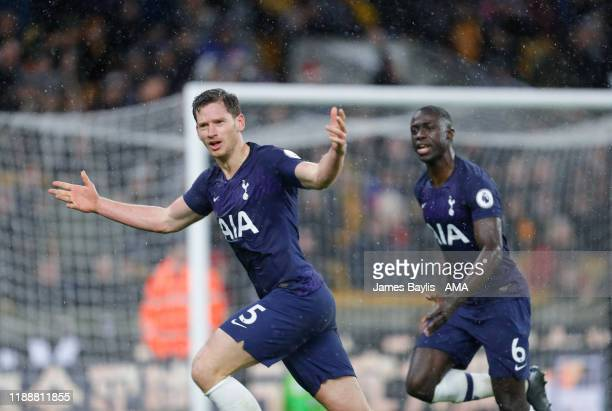 Jan Vertonghen of Tottenham Hotspur celebrates after scoring a goal to make it 12 during the Premier League match between Wolverhampton Wanderers and...