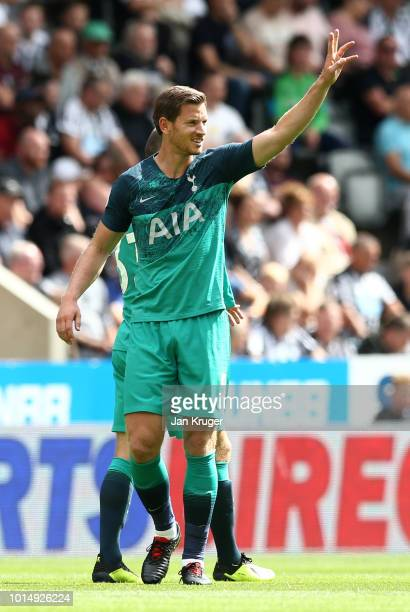 Jan Vertonghen of Tottenham Hotspur celebrates after scoring his team's first goal during the Premier League match between Newcastle United and...