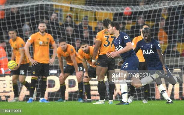 Jan Vertonghen of Tottenham Hotspur celebrates after scoring his team's second goal during the Premier League match between Wolverhampton Wanderers...