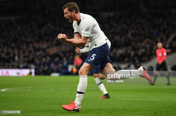 Jan Vertonghen of Tottenham Hotspur celebrates after scoring his team's first goal during the FA Cup Fifth Round match between Tottenham Hotspur and...