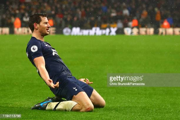 Jan Vertonghen of Tottenham Hotspur celebrates scoring his side's second goal during the Premier League match between Wolverhampton Wanderers and...