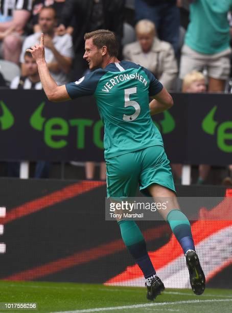 Jan Vertonghen of Tottenham Hotspur celebrates scoring their first goal during the Premier League match between Newcastle United and Tottenham...