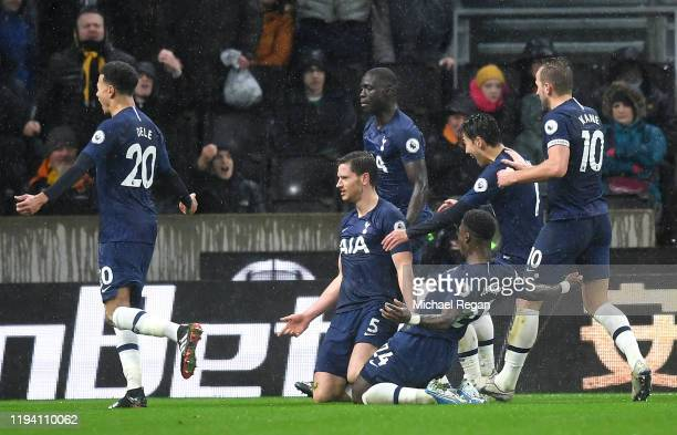 Jan Vertonghen of Tottenham Hotspur celebrates with teammates after scoring his team's second goal during the Premier League match between...