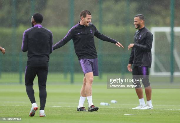 Jan Vertonghen of Tottenham Hotspur during the Tottenham Hotspur training session at Tottenham Hotspur Training Centre on August 9 2018 in Enfield...