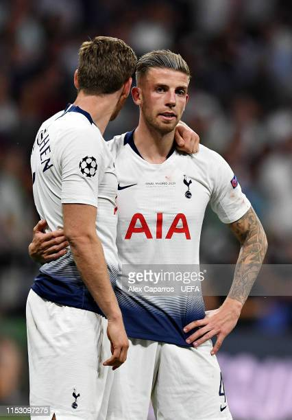 Jan Vertonghen of Tottenham Hotspur embraces teammate Toby Alderweireld after the UEFA Champions League Final between Tottenham Hotspur and Liverpool...