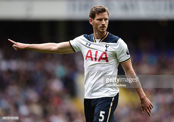 Jan Vertonghen of Tottenham Hotspur gestures during the Premier League match between Tottenham Hotspur and Crystal Palace at White Hart Lane on...