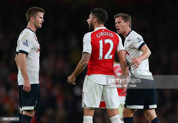 Jan Vertonghen of Tottenham Hotspur gets involved as Olivier Giroud of Arsenal has words with Eric Dier of Tottenham Hotspur during the Barclays...