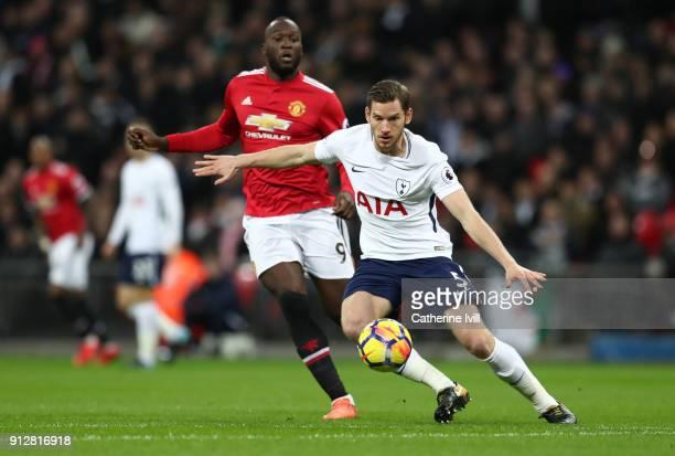Jan Vertonghen of Tottenham Hotspur gets past Romelu Lukaku of Manchester United during the Premier League match between Tottenham Hotspur and...