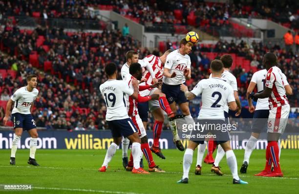 Jan Vertonghen of Tottenham Hotspur heads the ball away from Darren Fletcher of Stoke City during the Premier League match between Tottenham Hotspur...