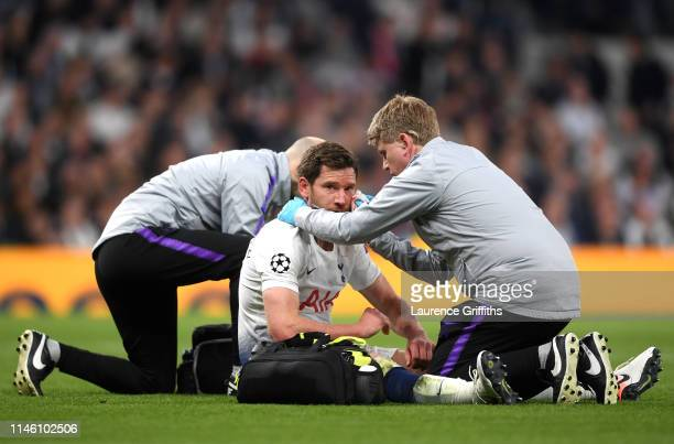 Jan Vertonghen of Tottenham Hotspur is given treatment during the UEFA Champions League Semi Final first leg match between Tottenham Hotspur and Ajax...