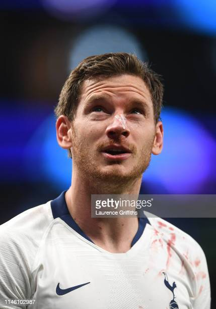 Jan Vertonghen of Tottenham Hotspur is injured during the UEFA Champions League Semi Final first leg match between Tottenham Hotspur and Ajax at at...