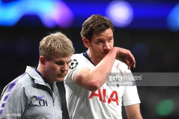 Jan Vertonghen of Tottenham Hotspur is injured during the UEFA Champions League Semi Final first leg match between Tottenham Hotspur and Ajax at at...