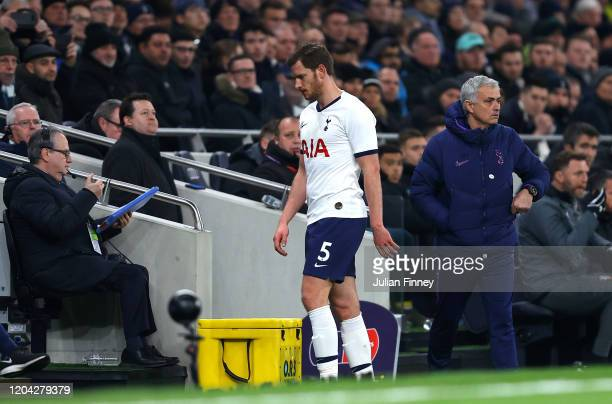 Jan Vertonghen of Tottenham Hotspur leaves the pitch after being substituted off during the FA Cup Fourth Round Replay match between Tottenham...