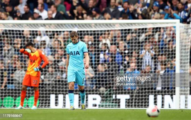 Jan Vertonghen of Tottenham Hotspur looks dejected after his team concede during the Premier League match between Brighton Hove Albion and Tottenham...