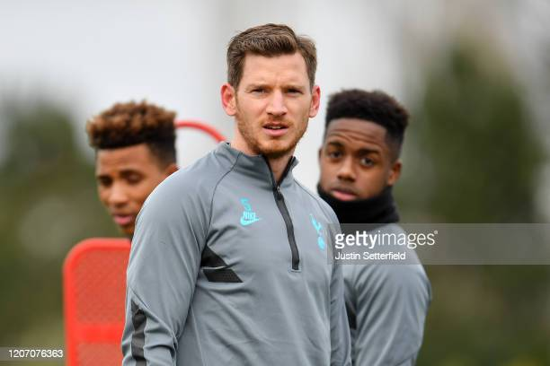 Jan Vertonghen of Tottenham Hotspur looks on during a training session ahead of their UEFA Champions League Round of 16 first leg match against RB...