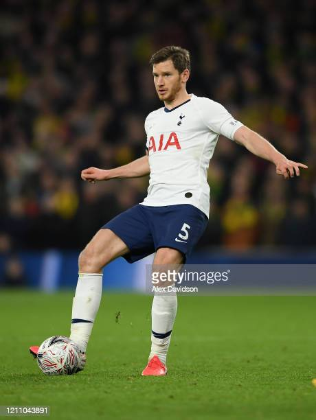Jan Vertonghen of Tottenham Hotspur passes the ball during the FA Cup Fifth Round match between Tottenham Hotspur and Norwich City at Tottenham...