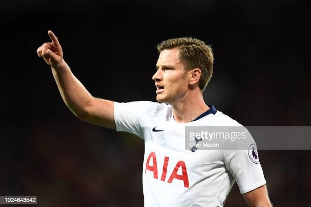Jan Vertonghen of Tottenham Hotspur reacts during the Premier League match between Manchester United and Tottenham Hotspur at Old Trafford on August...