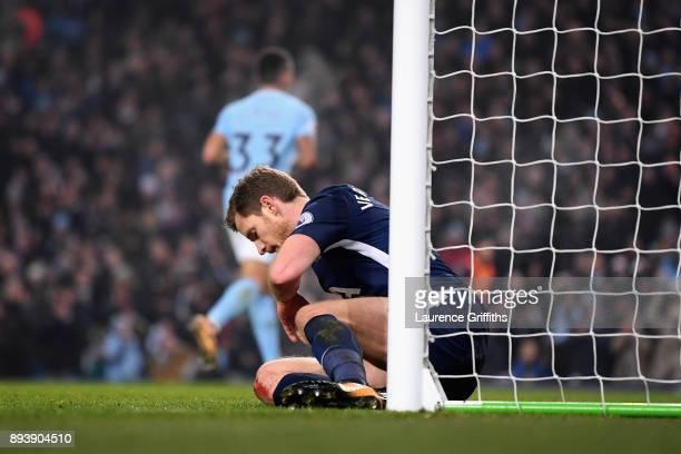 Jan Vertonghen of Tottenham Hotspur reacts during the Premier League match between Manchester City and Tottenham Hotspur at Etihad Stadium on...