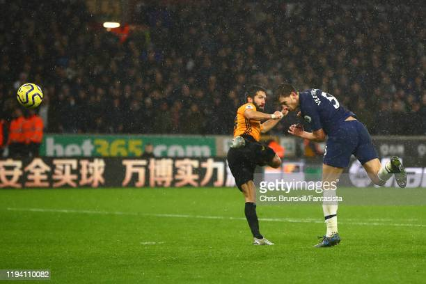Jan Vertonghen of Tottenham Hotspur scores his side's second goal during the Premier League match between Wolverhampton Wanderers and Tottenham...