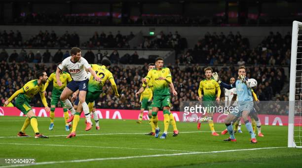 Jan Vertonghen of Tottenham Hotspur scores his team's first goal during the FA Cup Fifth Round match between Tottenham Hotspur and Norwich City at...