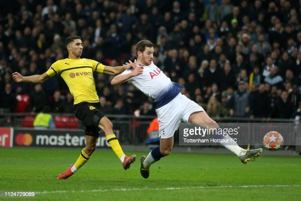 Jan Vertonghen of Tottenham Hotspur scores his team's second goal during the UEFA Champions League Round of 16 First Leg match between Tottenham...