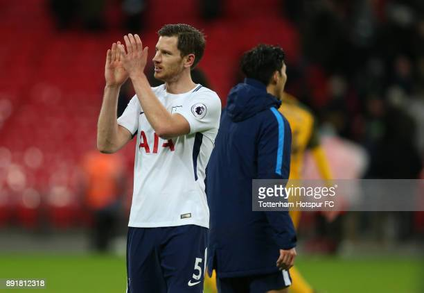 Jan Vertonghen of Tottenham Hotspur shows appreciation to the fans after the Premier League match between Tottenham Hotspur and Brighton and Hove...