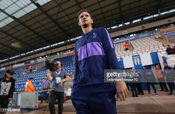 Jan Vertonghen of Tottenham Hotspur walks out onto the pitch during the Carabao Cup Third Round match between Tottenham Hotspur and Colchester United...