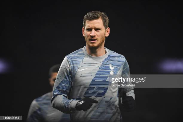Jan Vertonghen of Tottenham Hotspur warms up prior to the FA Cup Third Round Replay match between Tottenham Hotspur and Middlesbrough FC at Tottenham...