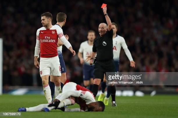 Jan Vertonghen of Tottenham is sent off for a second booking during the Premier League match between Arsenal FC and Tottenham Hotspur at Emirates...