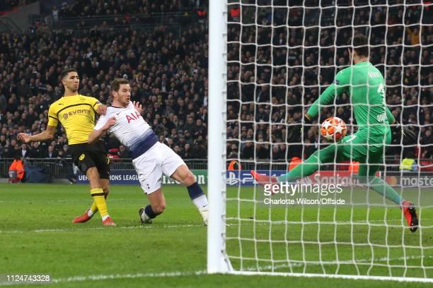 Jan Vertonghen of Tottenham scores their 2nd goal during the UEFA Champions League Round of 16 First Leg match between Tottenham Hotspur and Borussia...