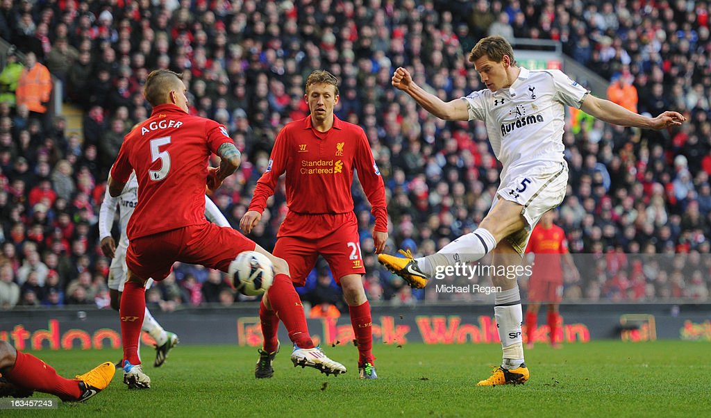 Jan Vertonghen of Tottenham scores to make it 2-1 during the Barclays Premier League match between Liverpool and Tottenham Hotspurs at Anfield on March 10, 2013 in Liverpool, England.