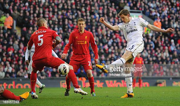 Jan Vertonghen of Tottenham scores to make it 21 during the Barclays Premier League match between Liverpool and Tottenham Hotspurs at Anfield on...