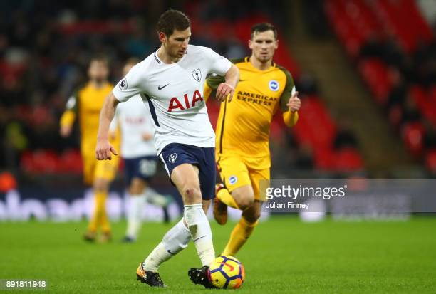 Jan Vertonghen of TottenhamHotspur passes the ball during the Premier League match between Tottenham Hotspur and Brighton and Hove Albion at Wembley...