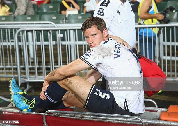 Jan Vertonghen of Tottenhan Hotspur is taken from the ground with an injury during the Barclays Asia Trophy Semi Final match between Tottenham...