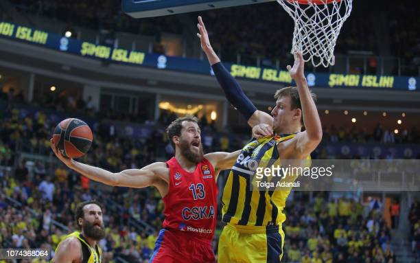 Jan Vesely #24 of Fenerbahce BEKO in action with Sergio Rodriguez #13 of CSKA Moscow during the 2018/2019 Turkish Airlines EuroLeague Regular Season...