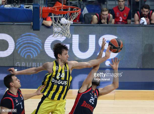 Jan Vesely #24 of Fenerbahce Dogus and Patricio Garino #29 of Baskonia Vitoria Gasteiz in action during the 2017/2018 Turkish Airlines EuroLeague...