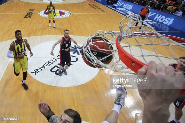 Jan Vesely #24 of Fenerbahce Dogus dunks during the Turkish Airlines Euroleague Play Offs Game 1 between Fenerbahce Dogus Istanbul v Kirolbet...