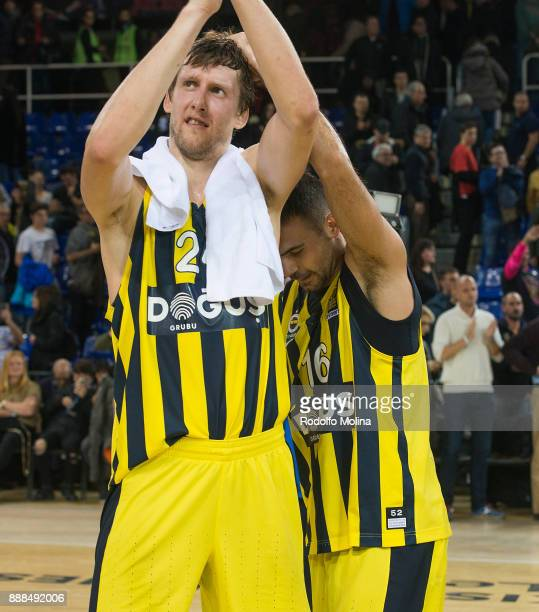 Jan Vesely #24 of Fenerbahce Dogus Istanbul and Kostas Sloukas #16 celebrates at the end of the 2017/2018 Turkish Airlines EuroLeague Regular Season...