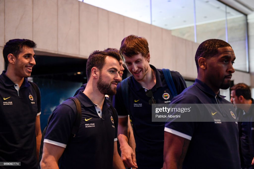 Jan Vesely, #24 of Fenerbahce Dogus Istanbul and Melih Mahmutoglu, #10 of Fenerbahce Dogus Istanbul during the Fenerbahce Dogus Istanbul Arrival to participate of 2018 Turkish Airlines EuroLeague F4 at Hyatt Regency Hotel on May 16, 2018 in Belgrade, Serbia.