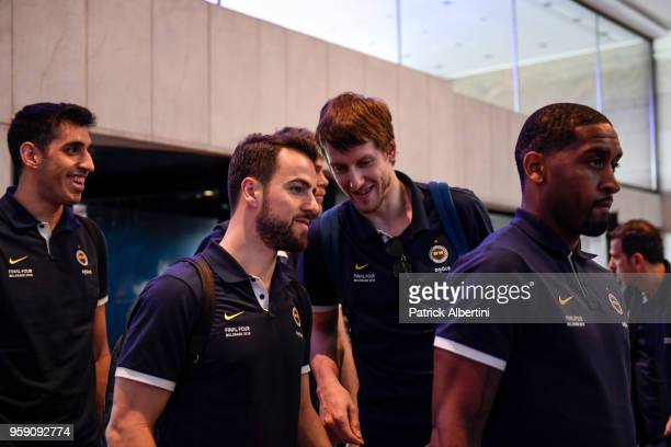 Jan Vesely #24 of Fenerbahce Dogus Istanbul and Melih Mahmutoglu #10 of Fenerbahce Dogus Istanbul during the Fenerbahce Dogus Istanbul Arrival to...